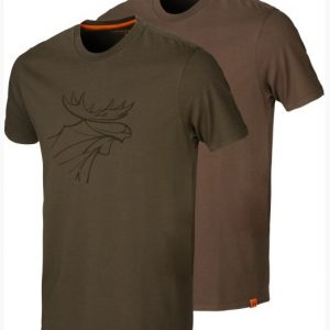 Härkila T-Shirt Graphic 2-pack Willow Green/ Slate Brown