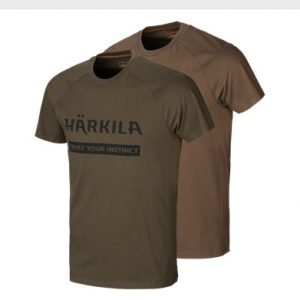 Härkila T-Shirt Logo 2-pack Willow Green/Slate/Brown